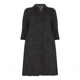 YOEK PRINT BLACK SPOTTY JERSEY SHIRT DRESS  - Plus Size Collection