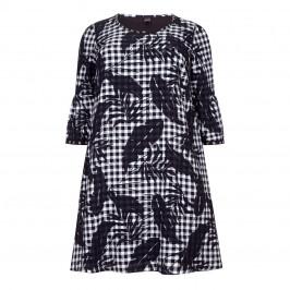 YOEK DRESS, MONOCHROME GINGHAM TRUMPET CUFF - Plus Size Collection