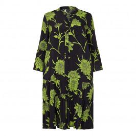 YOEK FLORAL PRINT SHIRT DRESS BLACK AND GREEN - Plus Size Collection