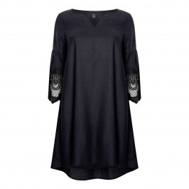 YOEK LINEN DRESS WITH LACE CUFFS BLACK - Plus Size Collection