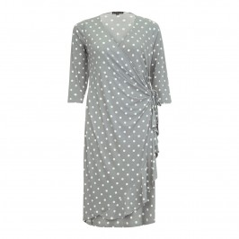 YOEK grey polka dot wrap DRESS - Plus Size Collection