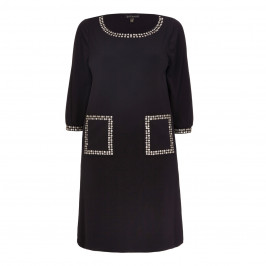 YOEK black shift DRESS with embellished pockets and neckline - Plus Size Collection