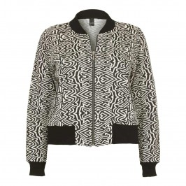YOEK black & white abstract jacquard bomber JACKET - Plus Size Collection