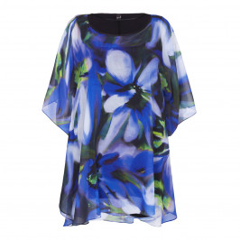 YOEK royal blue floral print chiffon KAFTAN - Plus Size Collection