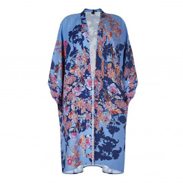 Yoek Blue Print Long Kimono - Plus Size Collection