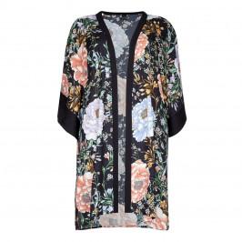 Yoek Black Print Long Kimono - Plus Size Collection
