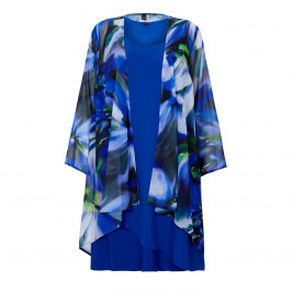 YOEK royal blue chiffon duster coat and dress ensemble - Plus Size Collection