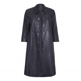 YOEK navy leather shirt style coat - Plus Size Collection