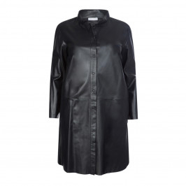 YOEK LEATHER COAT WITH STAND COLLAR - Plus Size Collection
