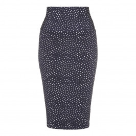 YOEK navy spot print jersey pencil SKIRT - Plus Size Collection