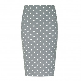 Yoek grey polka dot pencil SKIRT - Plus Size Collection