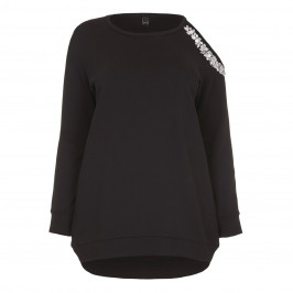 YOEK cold shoulder embellished black SWEATER - Plus Size Collection