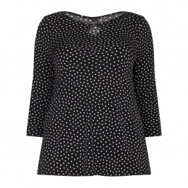 YOEK PRINT BLACK SPOTTY JERSEY TOP WITH KEY HOLE DETAIL  - Plus Size Collection