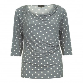 YOEK grey polka dot drape neck TOP - Plus Size Collection