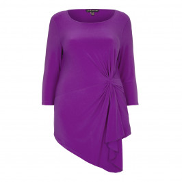 YOEK asymmetric cyclamen tie front TOP - Plus Size Collection