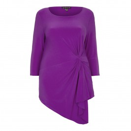 YOEK asymmetric cyclamen tie front TOP
