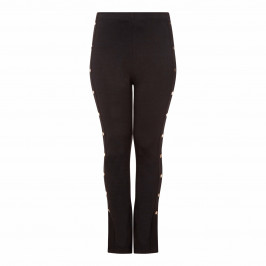 YOEK BLACK TROUSERS WITH GOLD SIDE BUTTONS - Plus Size Collection
