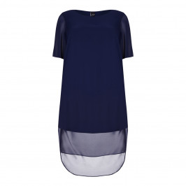 YOEK navy chiffon lined Tunic with long back - Plus Size Collection