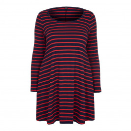 YOEK Navy & Red Breton stripe cotton-jersey Tunic - Plus Size Collection