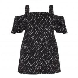 YOEK BLACK SPOT PRINT OFF SHOULDERS JERSEY TUNIC  - Plus Size Collection