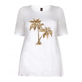 YOEK WHITE JERSEY TUNIC WITH PALM SEQUIN MOTIF
