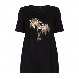YOEK black JERSEY TUNIC WITH PALM SEQUIN MOTIF  - Plus Size Collection