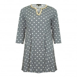 YOEK GREY POLKA DOT TUNIC WITH EMBELLISHED NECKLINE - Plus Size Collection