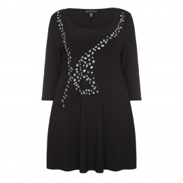 YOEK embellished fluid jersey long Tunic - Plus Size Collection