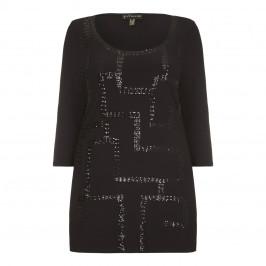 YOEK black Tunic with geometric sequin embellishment - Plus Size Collection