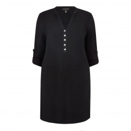 YOEK black button front Tunic - Plus Size Collection