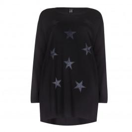 Yoek Black Oversized Star Tunic - Plus Size Collection