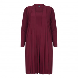 YOEK BORDEAUX A-LINE FLUID JERSEY DRESS & Coat - Plus Size Collection
