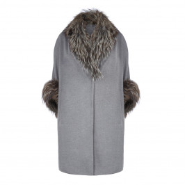 YOEK FUR TRIM PURE CASHMERE COAT - Plus Size Collection