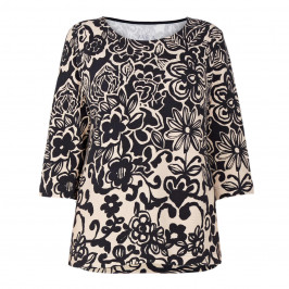 ZAIDA FLORAL PRINT TOP BLACK AND CREAM  - Plus Size Collection