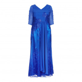 ZEILA ROYAL BLUE BALL DRAPE FRONT GOWN WITH EMBROIDERY  - Plus Size Collection