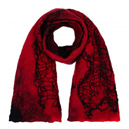 ZUZA-BART red felted wool SCARF - Plus Size Collection