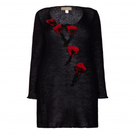 ZUZA-BART black SWEATER with roses appliqués - Plus Size Collection