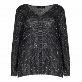 BEIGE label gunmetal sequinned silk JACKET - Plus Size Collection