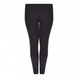 beige LEGGINGS with eco leather detail - Plus Size Collection