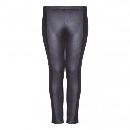 Beige eco leather and jersey black leggings - Plus Size Collection