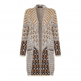 BEIGE ikat intarsia knit long CARDIGAN