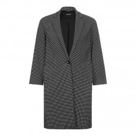 MARINA RINALDI monochrome micro check long JACKET - Plus Size Collection