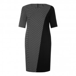 MARINA RINALDI monochrome micro-check panel DRESS - Plus Size Collection