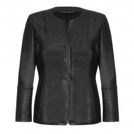MARINA RINALDI soft leather collarless black JACKET with exposed stitching - Plus Size Collection