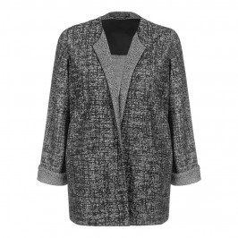 Marina Rinaldi longline black & white jacquard JACKET - Plus Size Collection