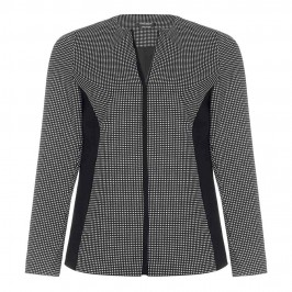 MARINA RINALDI Monochrome micro-check zip-up JACKET - Plus Size Collection