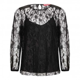 MARINA RINALDI lace shell TOP with eco-leather inserts - Plus Size Collection