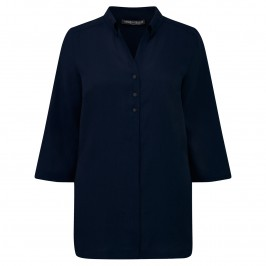 Marina Rinaldi navy three quarter sleeve linen shirt - Plus Size Collection