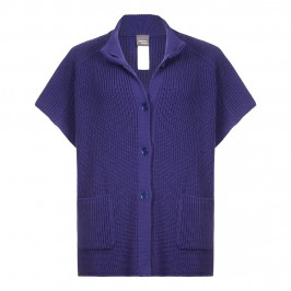 PERSONA ribbed knit blue PONCHO - Plus Size Collection