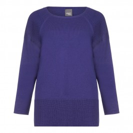 PERSONA long blue SWEATER with ribbed details - Plus Size Collection